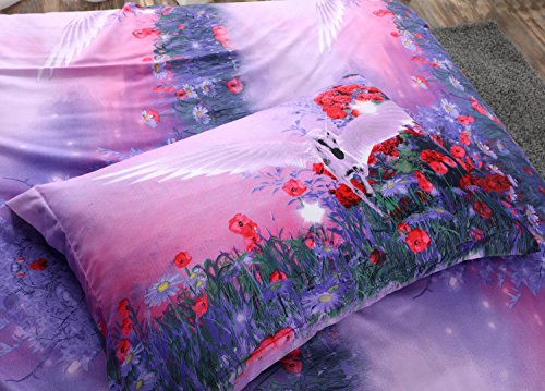 Alicemall 3D Unicorn Bedding Purple Bedding Set Dreamlike Flying Horse with Wings Purple Polyester 3D College Bedding Set, 4 Pieces, Duvet Cover, Bed Sheet and 2 Pillow Cases (Twin XL) by Alicemall (Image #8)