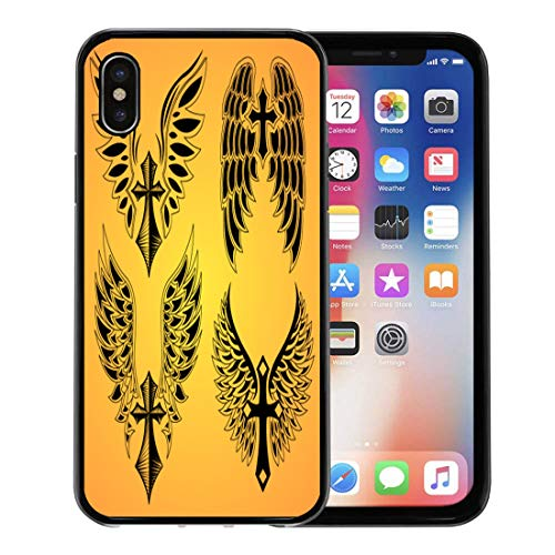 Emvency Phone Case for Apple iPhone Xs Case/iPhone X Case,Prayer Gothic of Cross and Wings Tattoo Tribal Celtic Soft Rubber Border Decorative, Black