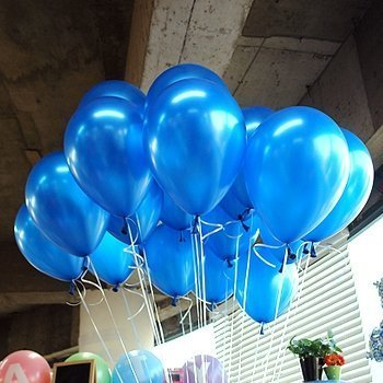 LOKMAN 12 Inch Ultra Thickness Dark Blue Latex Metallic Balloons 100 Piece Per Unit (Dark Blue ) ()
