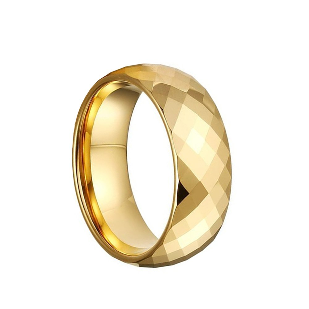 CAFARELLY TOP Multi-Faceted Pure Gold Plated Tungsten Ring Wedding Jewelry Size 10.5