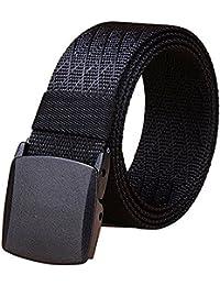 Men's Military Tactical Web Belt, Nylon Canvas Webbing YKK Plastic Buckle Belt