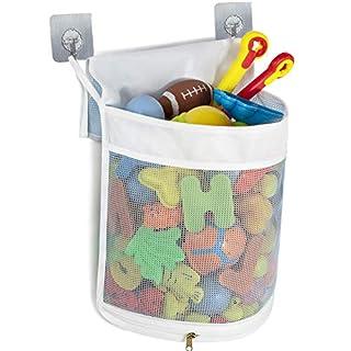 Tenrai Clever Zippered Mesh Bath Toy Organizer, Multiple Ways to Hang, 4 Ultra Strong Hooks, Extra Large Opening Bathroom Toy Holder, Large Capacity Multi Use Bathtub Toy Storage Bag