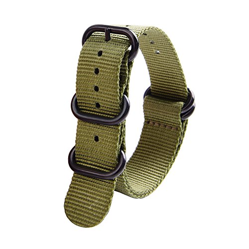 Ritche CHARLOTTE017  Nato Strap with Heavy Buckle Replacement Timex Weekender Watch Band, 20 mm, Army Green / Black Photo #7