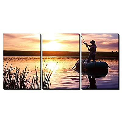 Beautiful Design, Mature Man Fishing from The Boat on The Pond at Sunset x3 Panels, Classic Artwork