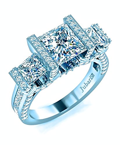 3 Stone Princess Cut Engagement Ring 2.11 Ctw. Diamond Tension Set Channel Shank Custom Jubariss 18K White Gold