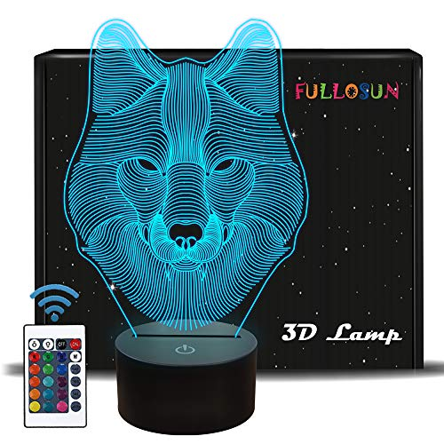 - FULLOSUN 3D Wolf Night Light, Optical Illusion Lamp for Home Decor & Co-Sleeping,Remote Controller with 16 Color Changing Ideal Birthday Gifts & Toys for Kids, Boys & Men