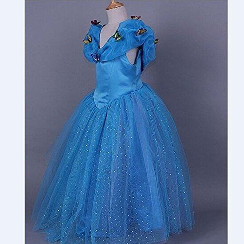 iPretty Disfraz de Vestido Infantil de Disney Princesa para Fiesta Carnaval Halloween Cosplay Cumpleaños para Niñas, Color Azul, Talla: XXL-140cm: ...