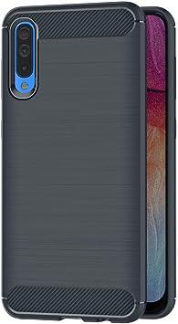 Coovertify Funda Fibra de Carbono Azul Samsung A50, Carcasa Azul ...