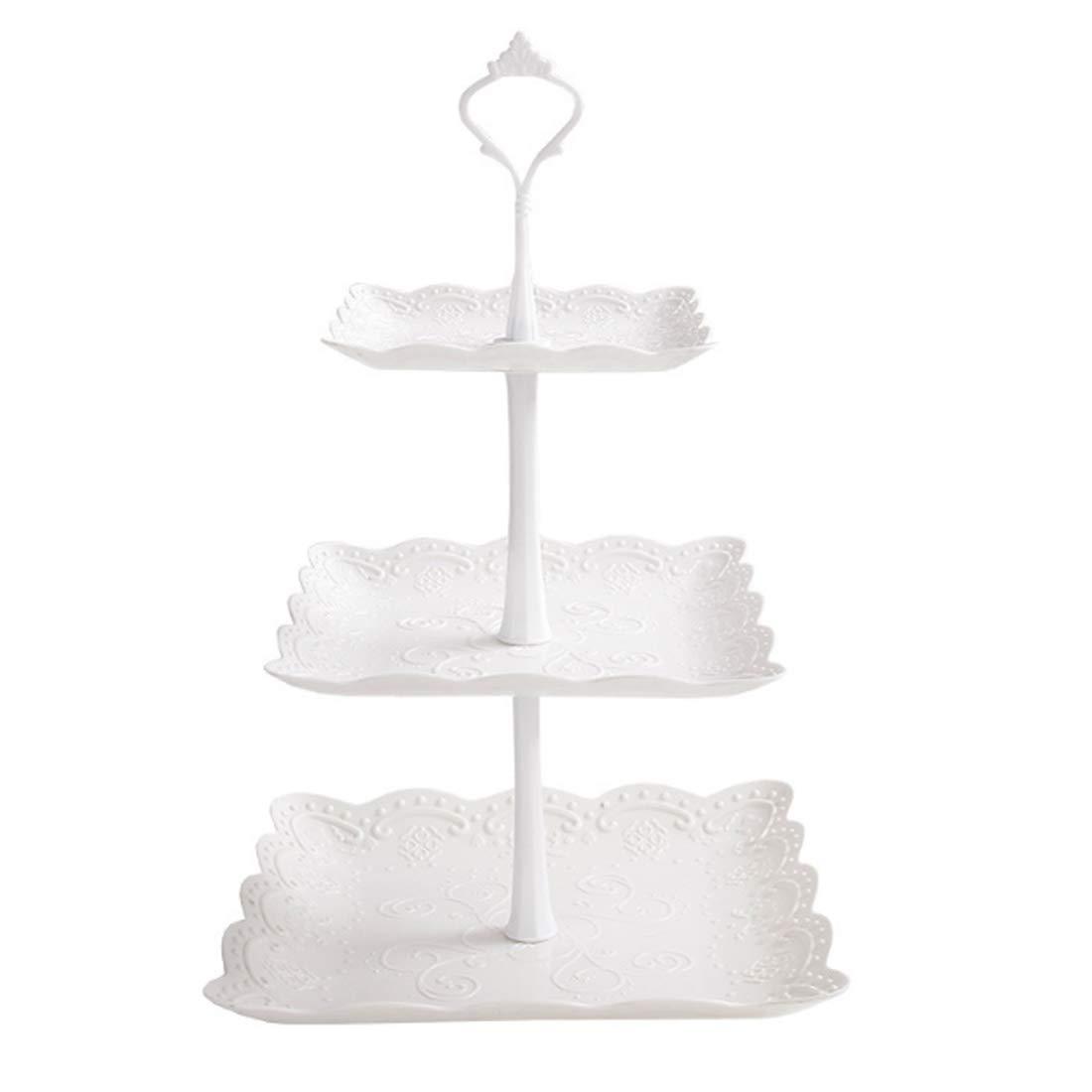 WOLFBUSH ケーキスタンド 3段 正方形 サービングトレイ 積み重ね パーティー カップケーキ デザートタワー 正方形 ホワイト   B07GP98L2X