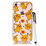 pokemon protective phone case - iPhone 8 Case Clear, iPhone 7 Case, Qiyuxow Slim Fit Soft Bright Art Printed Transparent TPU Gel Silicone Case Protective Cover for 4.7 inch Standard iPhone 7 & iPhone 8 (Pokemon)