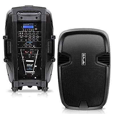 "Pyle 1000 Watt, 12"" Bluetooth PA Speaker - Indoor / Outdoor Portable Sound System with (2) UHF Wireless Microphones, Rechargeable Battery, Audio Recording, USB/SD Readers, FM Radio (PPHP1235WMU)"