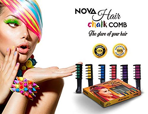 NOVA Premium Temporary Hair Color Chalk Comb-Washable NonToxic and Hair-Dye Safe for Kids Girls Children Adults Party Fans Cosplay - Perfect Gift Idea Set of 6 pcs (Red Hair Color Highlights)