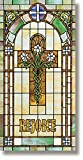 Stained Glass Rejoice Cross Canvas Worship Easter Banner, 6 Foot