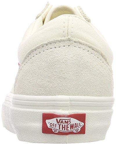 Vans Damen Old Skool Sneakers Elfenbein (vintage White / Rococco Red R1t)