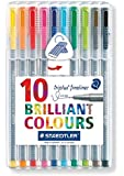 Staedtler 0.3 mm 334 Triplus Fineliner Superfine Point Pens - Assorted Colours, Pack of 10