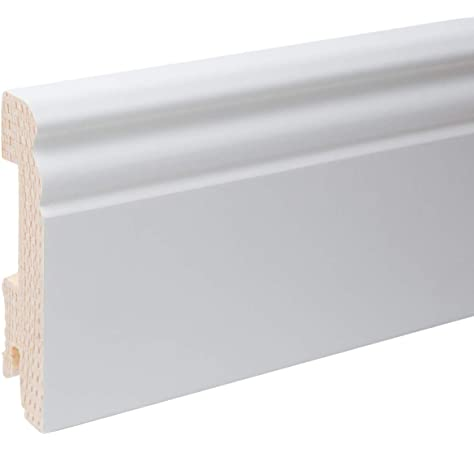 Acabado de laca de Gran Calidad Rodapi/é Blanco LACADO DM 15cm de alto Especial Para Tarima PACK de 11,25 mtl Canto Recto Parquet y Suelo laminado.N/º1 Ventas en Espa/ña.