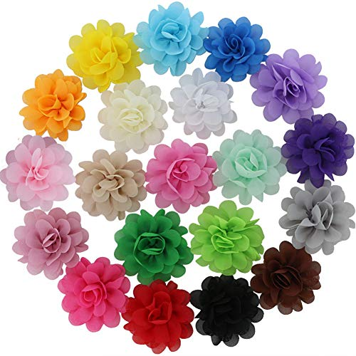 QingHan 20 Colors Chiffon Flowers Lined Hair Bows Clips for Women (Hair Flower Clips)
