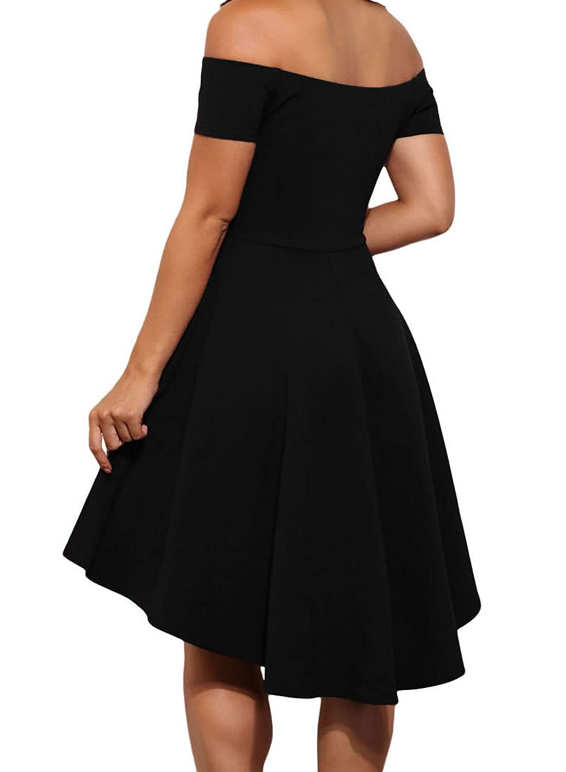 e86bfc7b4e0 LOSRLY Womens Off The Shoulder Skater High Low Homecoming Party Cocktail  Dress at Amazon Women s Clothing store
