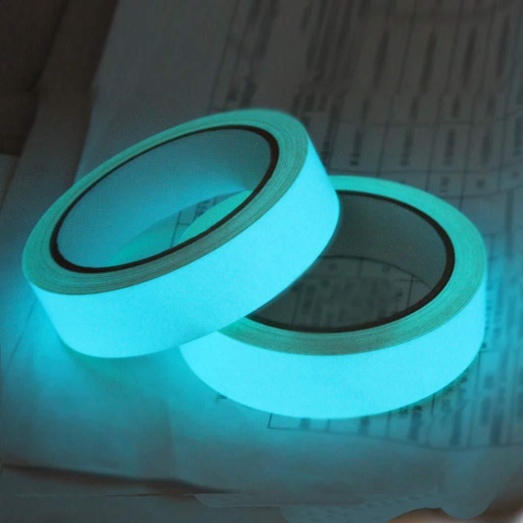 Luminous Tape Sticker, Tuscom Removable Waterproof Glow in The Dark Tape Reflective Self-Adhesive Sticker Luminous Safety Tape, 1M Length (Blue)