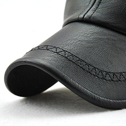 527d853ffe6 PU Leather Baseball Cap Casquette Flat Hat European and American Retro  Style For Men (Black_1)