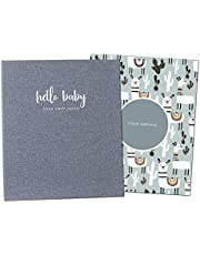 Peachly Minimalist Baby Memory Book | Baby First Year Keepsake for Milestones | Baby Books First Year Memory Book | Simple Baby Scrapbook for Boy or Girl Milestones | 60 Pages Grey Linen Scandi