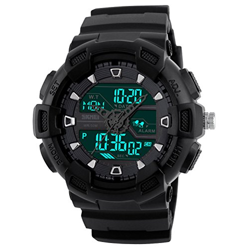 Men's Black Sport Watch, Outdoor Digital Rubber Waterproof Chronograph Watch, Military Dual Time Sport Watch, Black Rubber Simple Wrist Watch with LED Display, Calendar, Back Light, Alarm - Black