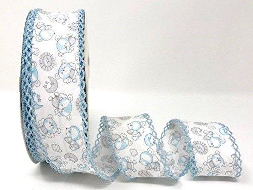 Byetsa Teddies Blue Double Lace Edge 36mm Bias Tape on a 25m Roll by Byetsa