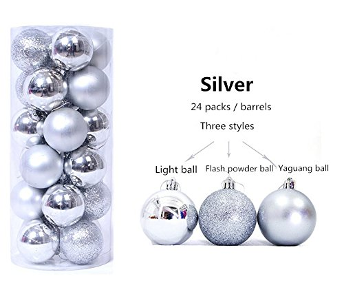 Alicia Haines Christmas Ball Ornaments Exquisite Colorful Barrel Plating Multicolor Decorations Pendant Pack of 24pcs (8CM, (Silver Lake Halloween 2017)