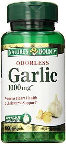 - Nature's Bounty Garlic, Odorless, 1000 mg, Softgels, 100 ct. Pack of 4 by Nature's Bounty