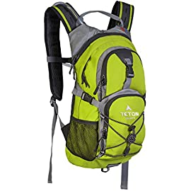 TETON Sports Oasis 1100 Hydration Pack; Free 2-Liter Hydration Bladder; For Backpacking, Hiking, Running, Cycling, and Climbing 5 SATISFY YOUR THIRST FOR ADVENTURE: Lightweight and comfortable; This hydration pack is a terrific companion for all your day-long or overnight hydration needs; Size 1100 Cubic Inches (18 L) FREE HYDRATION BLADDER: 2-Liter; Durable, kink-free sip tube and push-lock cushioned bite valve; Large 2-inch (5 cm) opening for ice and easy cleaning CUSTOMIZABLE COMFORT: Backpack for men, women, and youth; Adjusts to fit all frames comfortably; Notched foam stabilizer and mesh covering means you can wear this pack for hours