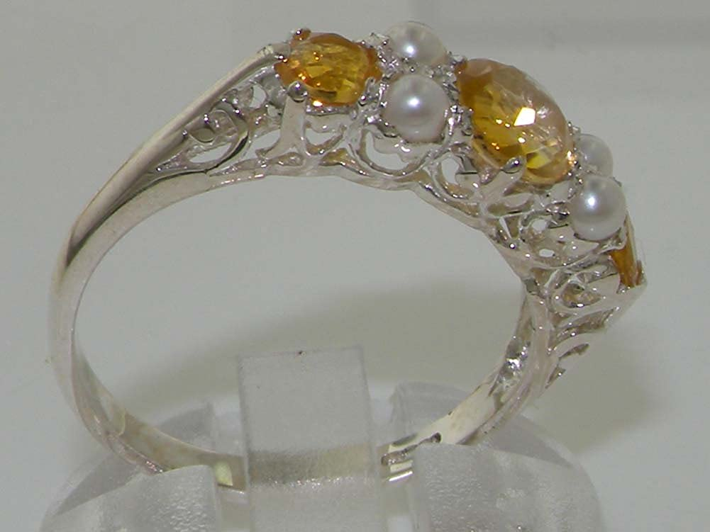 925 Sterling Silver Natural Citrine and Cultured Pearl Womens Band Ring – Sizes 4 to 12 Available