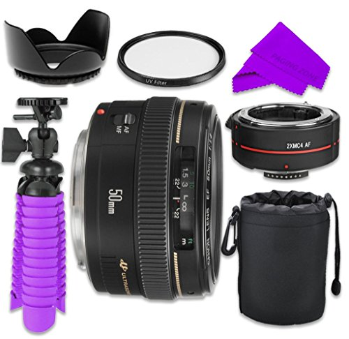 Professional Accessory Kit with Canon EF 50mm f/1.4 USM Lens Bundle w/ Auto Focus 2x Teleconverter Lens and UV Filter for Canon EOS 7D Mark II, 60D, 70D, 80D, 6D, 5D Mark III Digital SLR Cameras