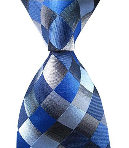DEITP Men's Classic Checks Blue Grey Jacquard Woven Silk Tie Formal Party Suit Necktie