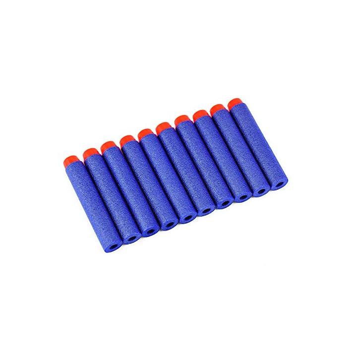 51WTwfB3GgL Seguro: con una textura plástica de esponja de EVA extra suave, puede doblarse o distorsionarse de manera flexible. El cabezal de plástico de cada bala está fuertemente conectado, no se preocupe que se desarmará fácilmente. Compatibilidad: la dimensión aproximada de cada dardo: 7.2x1.2cm / 2.83x 0.47 pulgadas. Se adapta a la mayoría de las pistolas de bala blandas N-graves. Fácil de transportar y almacenar Precaución: Para evitar lesiones oculares, no dispare a las personas directamente, especialmente en la cara. Sería más seguro para ti jugar bajo cualquier dispositivo de protección ocular.