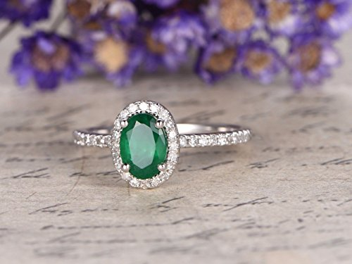 5x7mm Oval Cut Natural Genuine Green Emerald Diamond Halo Solid 14k White Gold Half Eternity Pave Wedding Band May Birthstone Bridal Ring Anniversary Gift Women Men Promise ()