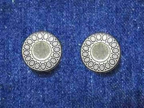 6 Set with Tool 20mm Ovals Matte Silver Jean Tack Buttons Kit