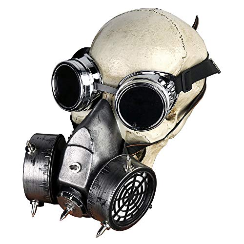Skeleton Gas Mask (Steampunk Goggles Glasses Gas Mask Skeleton Death Mask Masquerade Cosplay Mask)