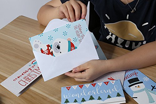Christmas Greeting Cards - 36 Pack Assorted Winter Holiday Christmas Cards - 6 Winter Holiday Designs, Ornaments, Polar Bears, Stockings, Snowflakes, Merry Christmas 4 x 8 Envelopes Included by Juvale Photo #7