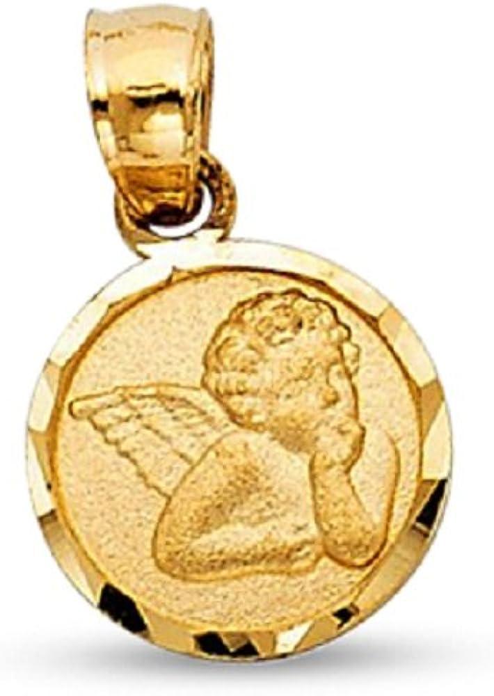 14K White Gold 14.25mm Round Angel Medal