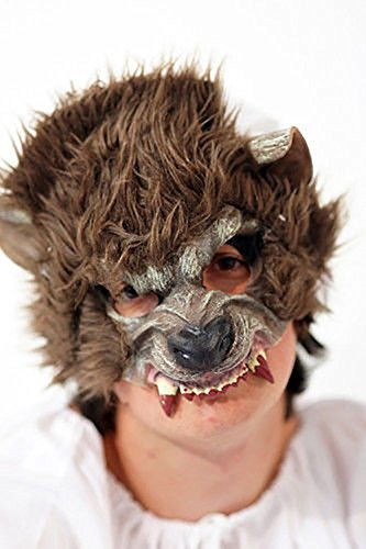 Fairytale-Little Red Riding Hood-Halloween-Evil-Werewolf BIG BAD WOLF HALF FACE MASK Fancy Dress Accessory