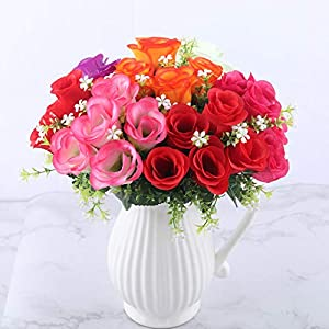crystal004 5 Heads Artificial Rose Bouquet Silk Red Pink Royal Roses Fake Flower Garden Decor Indoor Decoration for Home Party A10034,Red 5