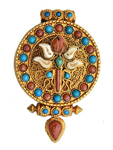 Victory Banner (Ashtamangala) Gau Box Pendant with Coral and Turquoise - Made in Nepal - Sterling Si