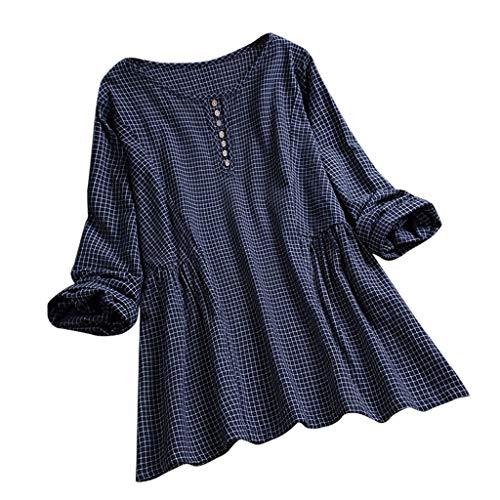 Xinantime Women Cotton Linen Blouse O-Neck Long Sleeve T-Shirt Outdoor Casual Shirt Plus Size Navy