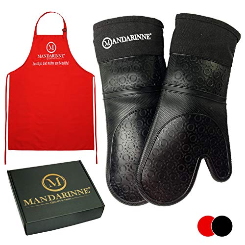 Mandarinne Silicone Oven Mitts and Apron Set - Heat Resistant Grill Mitts - Extra-Long Professional Heat-Resistant Mitts - Quilted Cotton Lining - High Durability - Black Oven Gloves + Red Apron ()