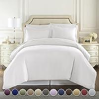 Hotel de lujo de 3 piezas de funda nórdica Set-1500 Recuento de hilos Calidad egipcia Ultra sedoso Colección de ropa de cama de calidad superior de primera calidad - Blanco tamaño