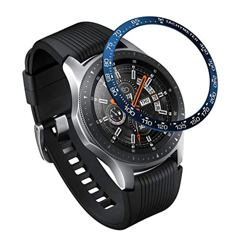 CreazyBee for Samsung Galaxy Watch 46MM Ring Adhesive Cover Anti Scratch Stainless Steel (Blue)