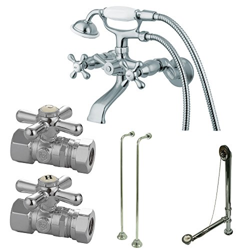 Kingston Brass CCK265C Vintage Wall Mount Claw Foot Faucet Package, 4-3/4-Inch, Polished Chrome