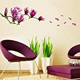 Weksi®17.32 X 16.54 Inch Removable Vinyl Wall Stickers Magnolia Flower Vine Wall Decor Stickers for Bedrooms and Baby Nursery Kids Wall Stickers