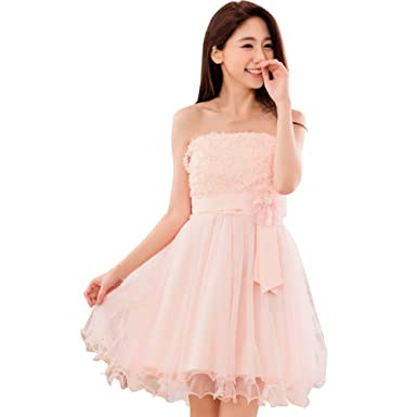 JK2 Womens Satin Mesh Bow Flower Strapless Party Bridesmaid Prom Dress (Pink ...