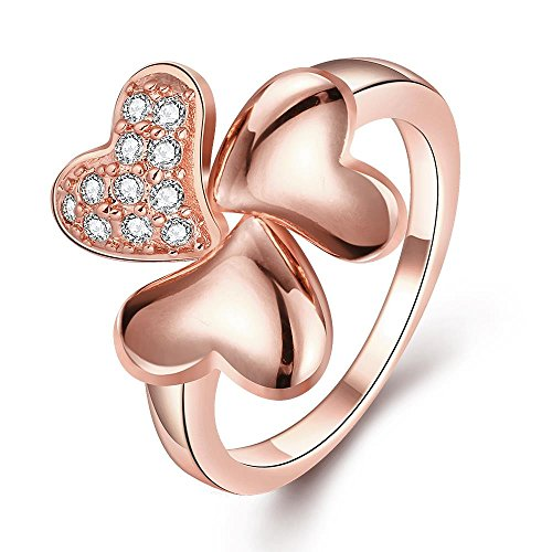 V-MONI Europe and America Heart and Soul Ladies Ring Rose Gold 7